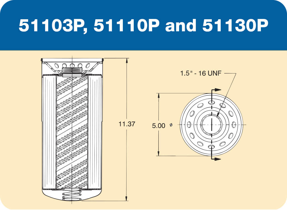 51103 P, 51110 P and 51130 P Diagram