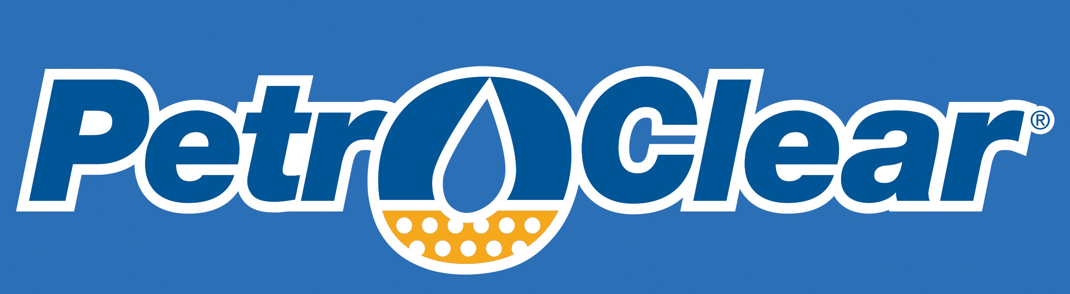 PetroClear Logo Outline on Blue
